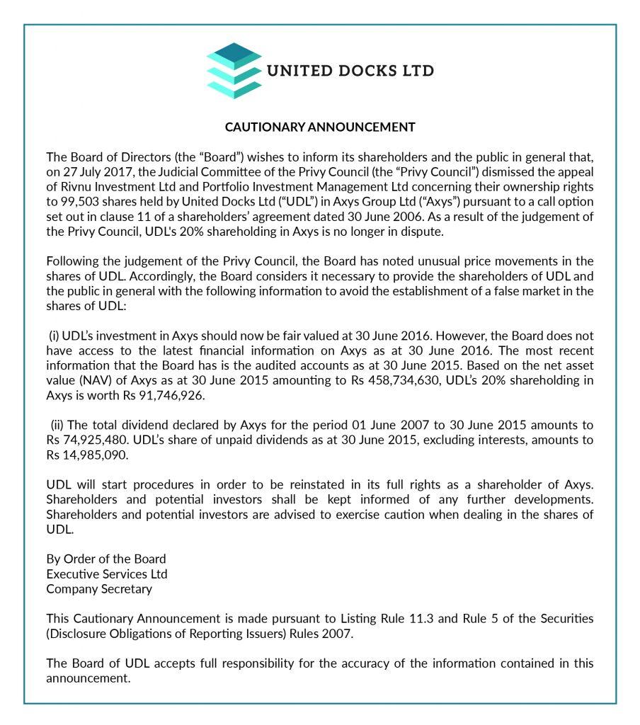 United docks Cautionary Announcement